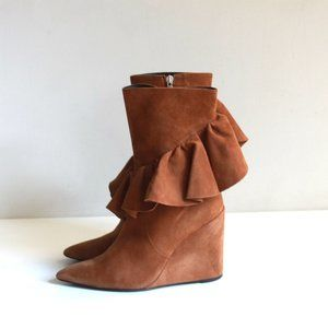 J.W. Anderson Mid Calf Wedge Suede Ruffle Boots